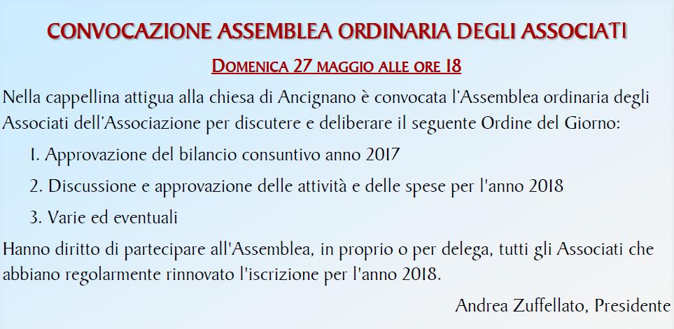 Assemblea Ordinaria Associazione Rodolfi